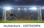 soccer goalkeeper in action on... | Shutterstock . vector #1007042896