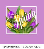 spring text with tulip flower.... | Shutterstock .eps vector #1007047378