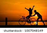 Silhouette Of Young Man Riding...