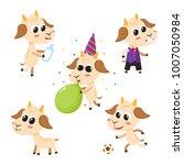 vector set of cartoon funny... | Shutterstock .eps vector #1007050984