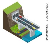 isometric modern road tunnel in ... | Shutterstock .eps vector #1007052430