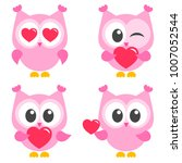set of cute pink owls with... | Shutterstock .eps vector #1007052544