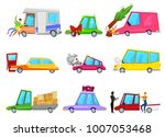 cartoon car accident vector... | Shutterstock .eps vector #1007053468