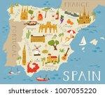 high detailed map of spain.... | Shutterstock .eps vector #1007055220