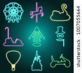 Neon Style Amusement Park Icon...
