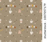 seamless background with coffee ... | Shutterstock . vector #1007057179