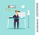 headache. businessman working... | Shutterstock .eps vector #1007059690
