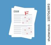 exam sheet with f grade  flat... | Shutterstock .eps vector #1007063893