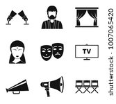 feature film icons set. simple... | Shutterstock .eps vector #1007065420