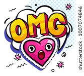 omg in comic speech bubble with ... | Shutterstock .eps vector #1007074846