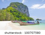 cliff and boats and the clear... | Shutterstock . vector #100707580