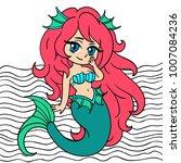 little cute mermaid vector. | Shutterstock .eps vector #1007084236