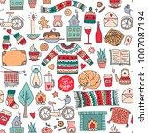 hand drawn seamless pattern... | Shutterstock .eps vector #1007087194