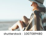 charming young woman with hat ... | Shutterstock . vector #1007089480