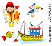set of happy fisherman... | Shutterstock .eps vector #1007091964