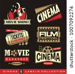 cinema and movies set of labels ... | Shutterstock .eps vector #1007092276