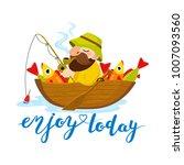 illustration of happy fisherman ... | Shutterstock .eps vector #1007093560