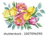 bouquet of flowers peonies ... | Shutterstock . vector #1007096590