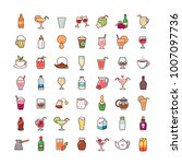 set of cartoon icons isolated... | Shutterstock .eps vector #1007097736