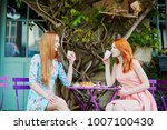 two parisian women drinking... | Shutterstock . vector #1007100430