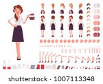 Young secretary character creation set. Lady works in office with correspondence. Full length, different views, emotions, gestures. Build your own design. Cartoon flat style infographic illustration | Shutterstock vector #1007113348