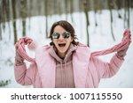 Girl Excited In Winter Snow Da...