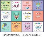 cute animal faces funny doodle... | Shutterstock . vector #1007118313