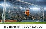 soccer goalkeeper in action on... | Shutterstock . vector #1007119720