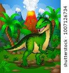 cute cartoon allosaurus.... | Shutterstock .eps vector #1007126734