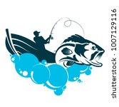 a fisherman in a boat is... | Shutterstock .eps vector #1007129116