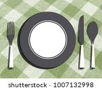 empty plate with fork  knife... | Shutterstock . vector #1007132998