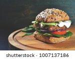 veggie  vegan burger with... | Shutterstock . vector #1007137186