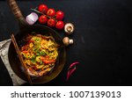 stir fry noodles in traditional ... | Shutterstock . vector #1007139013