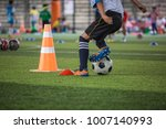 soccer ball tactics on grass... | Shutterstock . vector #1007140993