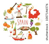 vector symbols of spain.... | Shutterstock .eps vector #1007146576