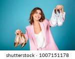portrait of a smiling woman... | Shutterstock . vector #1007151178