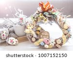 easter composition wreath on a... | Shutterstock . vector #1007152150