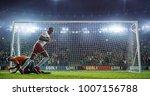soccer game moment  on... | Shutterstock . vector #1007156788