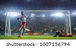 soccer game moment  on... | Shutterstock . vector #1007156794