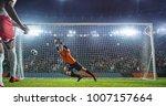 soccer game moment  on... | Shutterstock . vector #1007157664