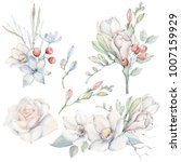 Stock photo handpainted watercolor flowers set in vintage style it s perfect for greeting cards wedding 1007159929