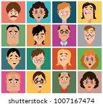 sixteen faces of cartoon... | Shutterstock . vector #1007167474