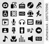 multimedia icon set vector.... | Shutterstock .eps vector #1007170540