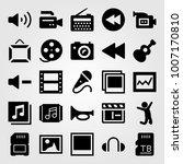 multimedia icon set vector.... | Shutterstock .eps vector #1007170810