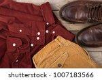 dark red velveteen shirt on the ...   Shutterstock . vector #1007183566