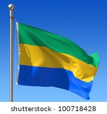 flag of gabon waving in the... | Shutterstock . vector #100718428