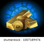 coins bitcoin and two gold bars ... | Shutterstock .eps vector #1007189476