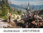 hiker show from back standing... | Shutterstock . vector #1007195818