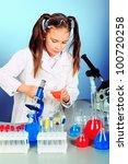 little girl is making science...   Shutterstock . vector #100720258