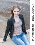portrait girl with blond hair... | Shutterstock . vector #1007205424